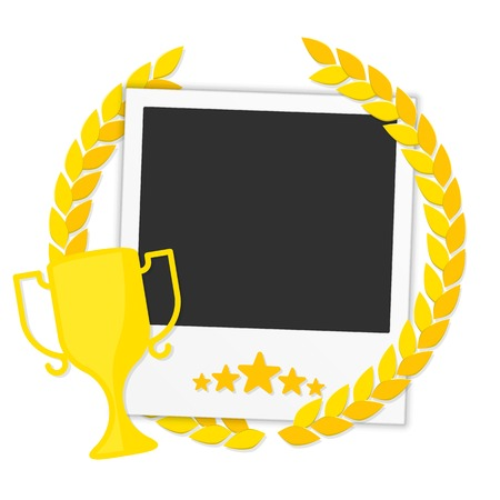 Template frame for a photo with a laurel wreath and a gold cup winner. photo Frame winner. Stock Photo Frame winner , competition. Concept design album . Illustration in a flat style.