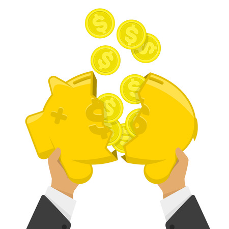 poured: Vector illustration broken piggy bank. Flat vector illustration business concept. Broken piggy bank from which poured the coins money.