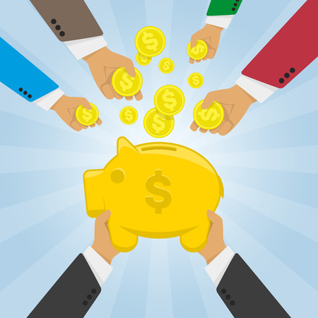 lay down: Vector modern flat illustration on multiple hands putting coins into the money box. Piggy bank receiving coins. Crowd funding concept illustration. Hands lay down coins money in piggy bank.
