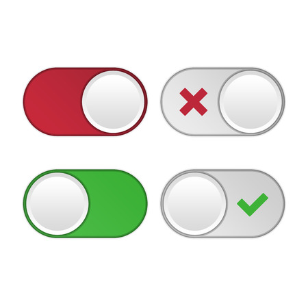 toggle switch: Vector set of universal switches for web design and applications. Toggle switch set, On and Off sliders, vector elements. Illustration
