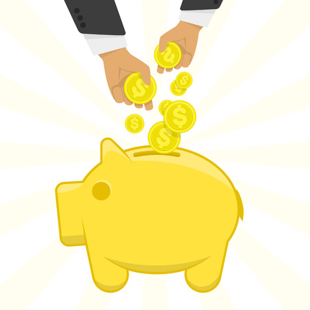 accumulation: Vector illustration of a hand putting money in the piggy bank. Vector icon Yellow piggy bank with money. The concept of financial illustration accumulation of money. Illustration