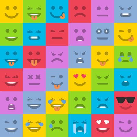 Big set of universal smiles. Set of multicolored emoticons, emoji isolated, vector illustration.