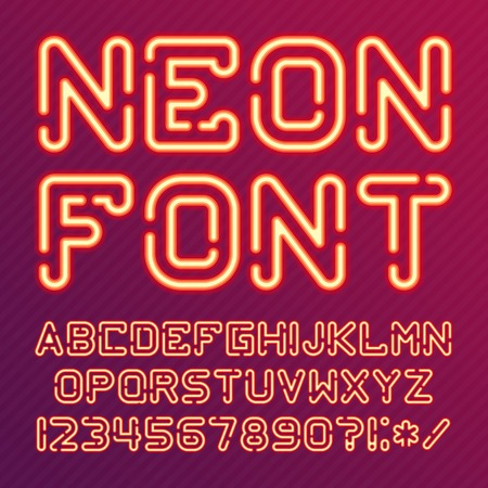 punctuation marks: Neon Light Alphabet Vector Font. Type letters, numbers and punctuation marks. Neon tube letters on background.
