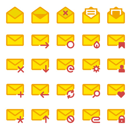 select all: Big set of vector icons e-mail. Yellow icons mail letter, e-mail in a flat style for use in your design layouts and web applications.
