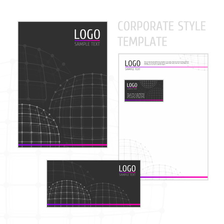 fl: Corporate identity template with digital elements. Modern design elements of corporate identity - the folder, business card, envelope and letterhead. Vector company style for brandbook and guideline.
