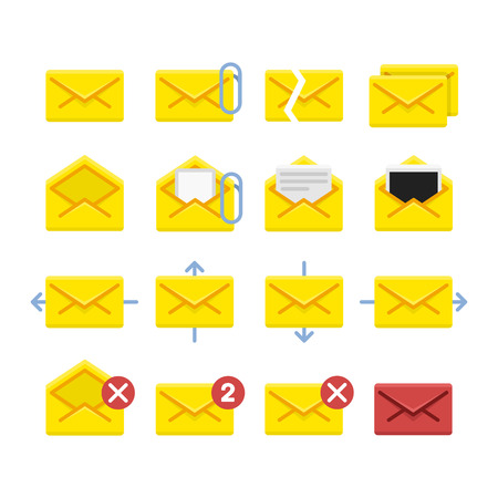 select all: Set of vector icons e-mail. Yellow icons mail letter, e-mail in a flat style for use in your design layouts and web applications. Illustration