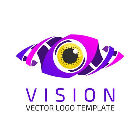 blue eye: Eye Logo design vector template. Colorful media icon. Creative Vision Logotype concept.