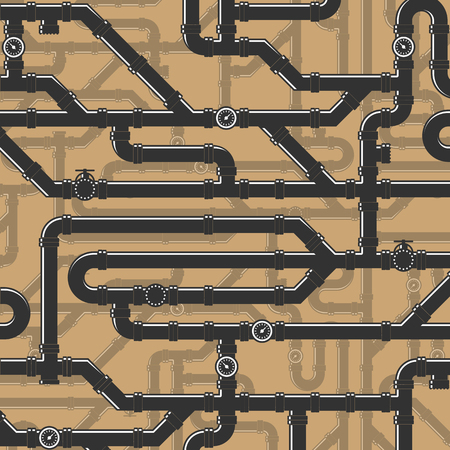 entangled: Vector illustration of water pipes. Large Number of entangled together water pipes. Tube Illustration. Illustration