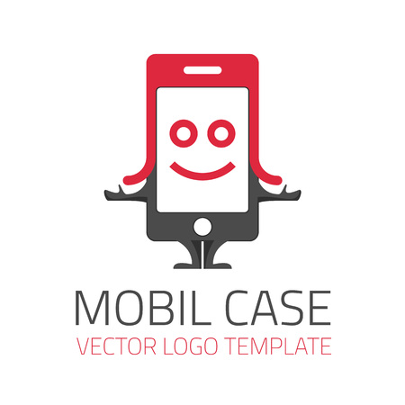 Vector logo template Case for mobile phone. Icon character mobile phone in the header.