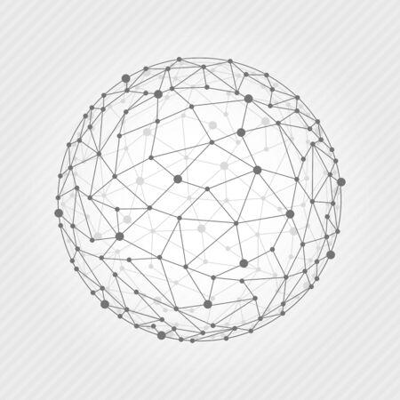ベクトル図ワイヤー フレーム 3 D メッシュ多角形のベクトル球。ネットワーク回線、デザイン球、ドットおよび構造。