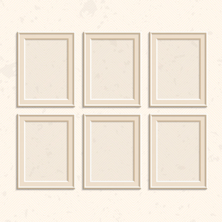 Picture Frame Vector. Photo Art Gallery On Vintage Wall. Set ...