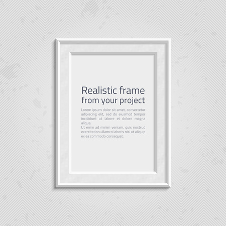 empty office: Realistic picture frame wiht text isolated on white background. White frame on a wall vector background design for your content. Realistic frame for photos or the text. Modern realistic frame.
