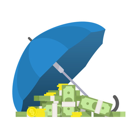 preservation: Money under the umbrella. Vector illustration the preservation and protection of money. Concept on the theme of financial guarantee in flat style. Protection of money concept. Illustration