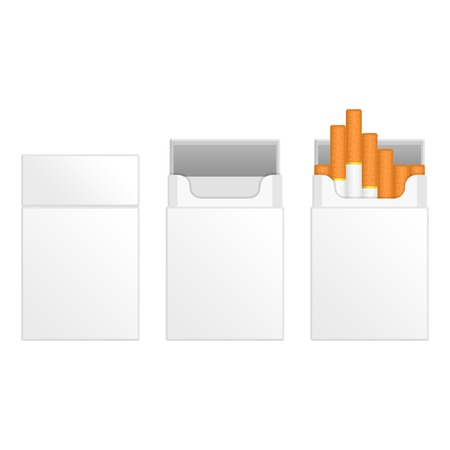 baccy: Vector illustration closed, empty and full white packs of cigarettes. Set of blank cigarette pack. Isolated on white background. Vector Blank Pack Package Box of Cigarettes. Illustration