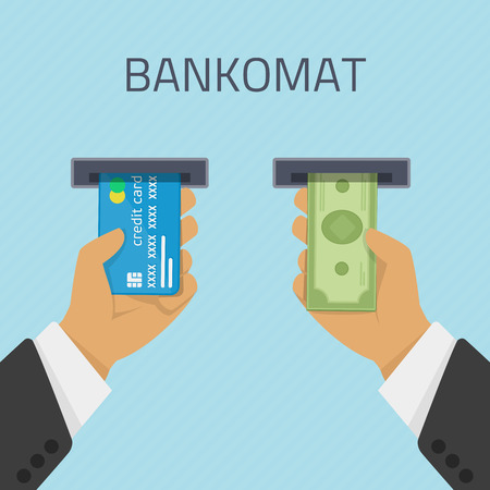 bankomat: Hand inserts a credit card into ATM and takes the money from the ATM. Vector illustration cashing in of money of the ATM. Money withdrawal in Bankomat. ATM terminal usage concept in flat style. Illustration