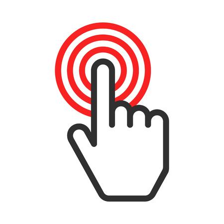 Toca icono del vector. cursor de la mano del ordenador que hace elecciones y está dirigido a un objetivo.