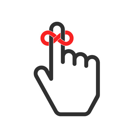 finger bow: Reminder icon. Hand with string reminder symbol. Vector icon reminder finger in a flat style. Hand with finger on which is tied stylized ribbon bow.