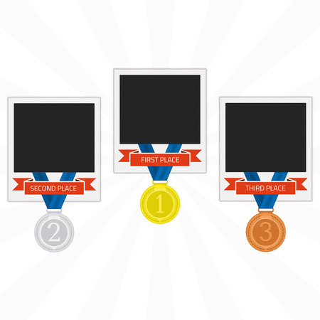 bronze medal: Vector photo frame template with medal competition winner. Photo frame to win the competition. Gold, silver and bronze medal on isolated background photo frames in flat style. Photo frame of winners.