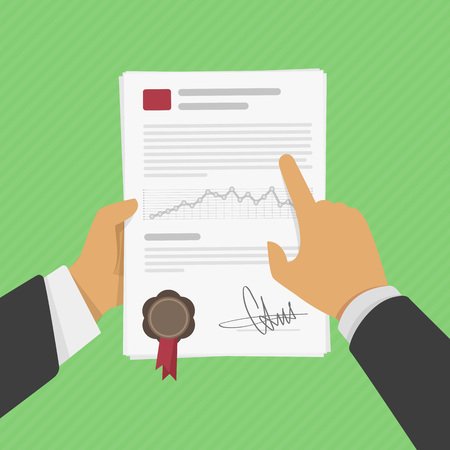contract signing: Vector illustration business man hands holding contract, signing of a treaty business contract flat style. The signed contract in a hand of the person.