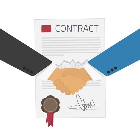 Ilustración del vector de hombres de negocios apretón de manos en el fondo del contrato. Firma de un contrato del asunto tratado. Asociación plana ilustración del apretón de manos, Saludar contra el contrato. Ilustración de vector