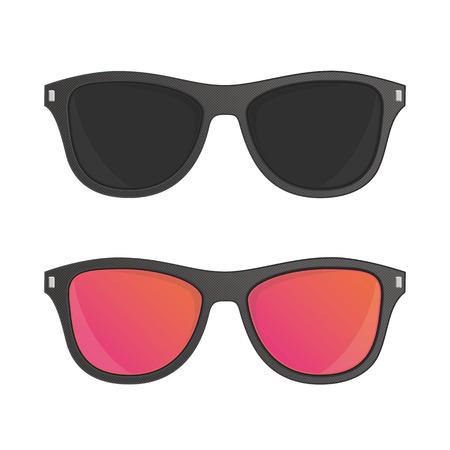 wayfarer: Sunglasses vector illustration in flat style. Set of different sun glasses for your designs. Black plastic hipster sunglasses icon. Classic wayfarer shape sun glasses with black color frame. Illustration