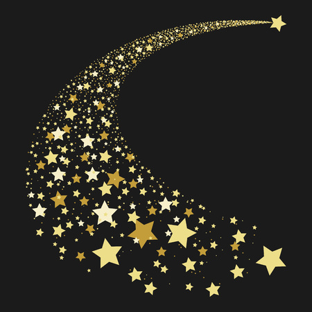 Vector illustration abstract Falling Star. Shooting Star with Elegant Star Trail on Dark Background - Meteoroid, Comet, Asteroid or Stars. Abstract background from stars. Comet tail from stars. Vettoriali