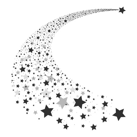 Vector illustration abstract Falling Star. Shooting Star with Elegant Star Trail on White Background - Meteoroid, Comet, Asteroid or Stars. Abstract background from stars. Comet tail from stars.