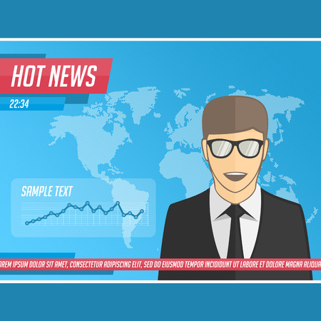 anchorman: Anchorman on tv broadcast news. Vector illustration media on television concept with globe map background. Breaking news. News announcer in the studio. Vector illustration in flat style.