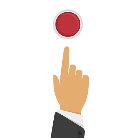 press button: Vector illustration hand pressing red button, top view.Pressing finger on red button. Push button concept in flat style. Press button design. Man pressing button. Illustration