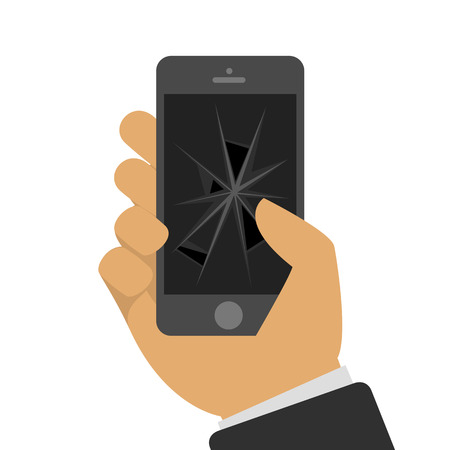 broken screen: Vector illustration the broken mobile phone in a hand of the person in flat style. The smartphone with the broken screen. Faulty phone in a hand. Universal concept of repair of mobile phones.