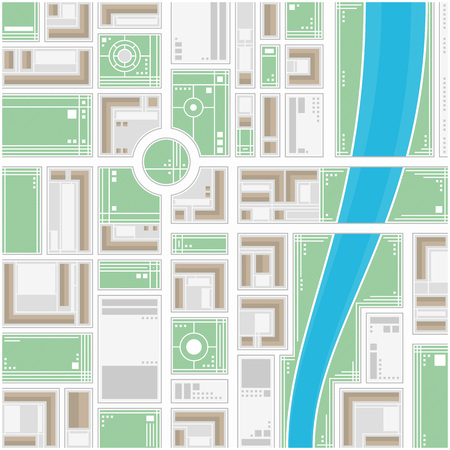 locations: A generic city map of an imaginary city. Editable vector street map of a fictional generic town. Vector city map with typical locations and objects like roads, houses, river, gardens, parks.