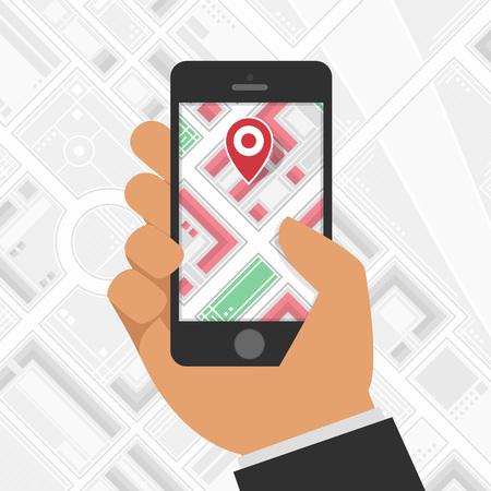 gps navigation: Hand holding Mobile with Gps Navigation. Mobile Gps Navigation with map and icon. Mobile gps navigation concept. Concept mobile Gps Navigation vector illustration. Mobile Gps Navigation technologies.