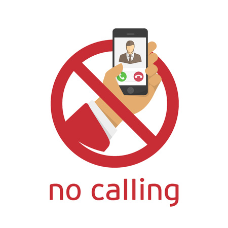 cell phones not allowed: No calling sign on white background. Modern sign ban cell phone use. Illustration in a flat style.
