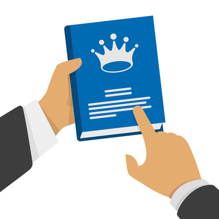 man holding book: Vector illustration of a book in the hand of man. A man hand holding a book with a crown. Stock illustration in a flat style.