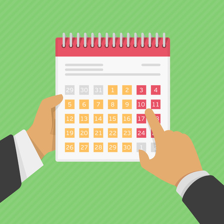 second hand: Stock calendar in the hands of man. One hand man holding a calendar, the second hand points to the calendar. Stock illustration in a flat style. Illustration