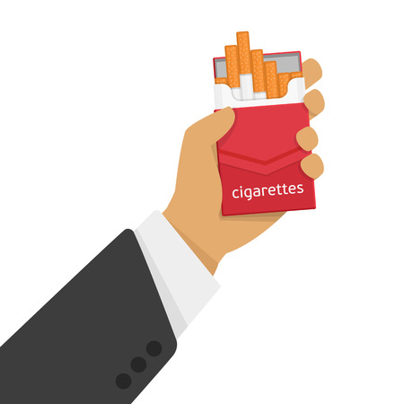 Vector illustration of a pack of cigarettes in a person hand. Open pack of cigarettes in the man hand. The modern concept illustration about smoking and cigarettes shown in flat style.