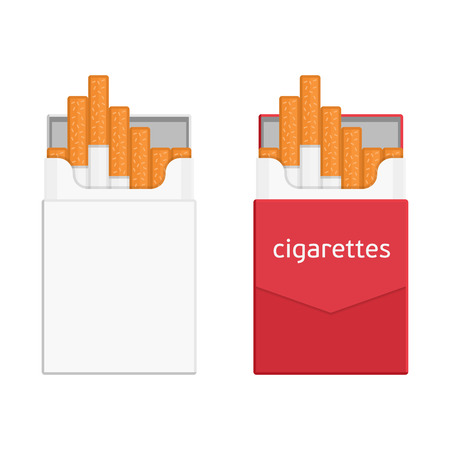 baccy: Pack of cigarettes isolated on white background. Contemporary illustration of an open pack of cigarettes. Icon pack of cigarettes in a flat style. Template pack of cigarettes and tobacco products. Illustration