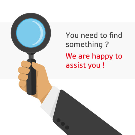 Vector illustration of a magnifying glass in the hand of man. Modern illustration hand holding magnifying glass. Concept search infographic illustration in a flat style. Ilustração