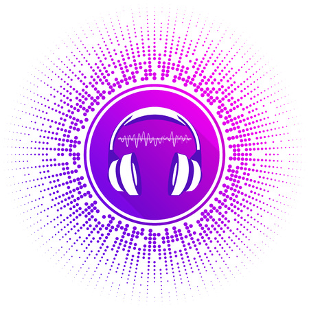 mp: Vector illustration of stylized headphones on bright background with dots.  template , the icon for the music group. Bright , modern element to a flyer, booklet musical events . Illustration