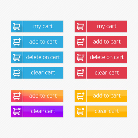 eshop: Add to Cart vector icons. Flat shopping cart shop button set. Ecommerce interface elements. Modern ui buy now for online store. Design element of Web site, applications, e-shop. Illustration