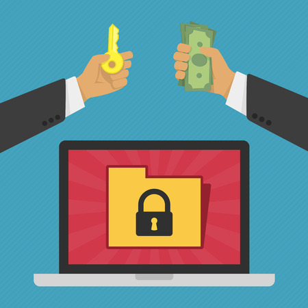 illustration of technology data privacy and security concept. Internet Security Concept with A Laptop, Personal Information. Businessman pays hackers for the key to the information in laptop.