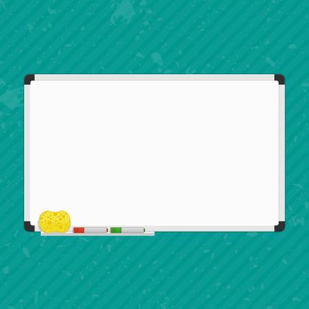 Vector Illustration von leeren Tafel. Whiteboard an der Wand mit Markierungs-Federn und Schwamm. Leere weiße Markierung Bord. Office-Whiteboard-Vorlage.