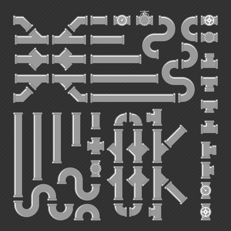 sewage system: Pipe fittings vector icons set. Vector illustration of tube industry, construction pipeline, drain system. Set of pipes, fittings and valves. PVC Pipeline Construction. Vector Customizable Kit. Illustration