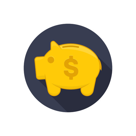cash box: Money box icon. Vector illustration in flat style with long shadows, moneybox icon. Gold moneybox. Symbol of cash box.