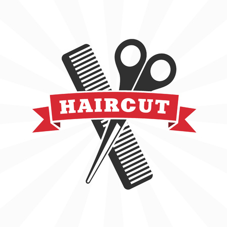 Etichetta di vettore retrò barbiere, distintivi e elemento di design. Icona di design parrucchiere in stile piano. Modello universale per barbiere.