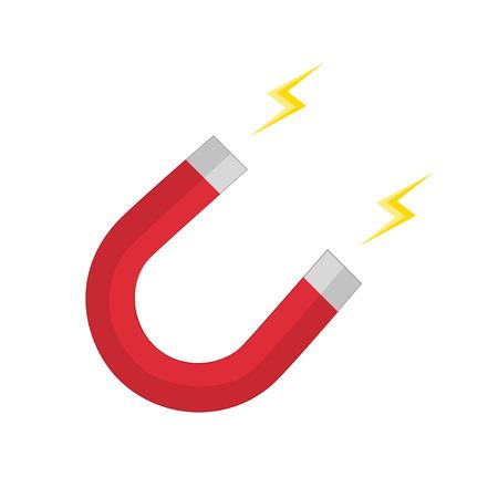 magnetismo: illustrazione vettoriale di magnete a ferro di cavallo rosso, il magnetismo, magnetizzare, attrazione. Vector magnete icona di stile piatta. Vettoriali