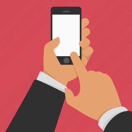 using smartphone: Vector illustration of hand holding black smartphone, touching blank white screen. Hand hold smartphone, finger touch screen. Cellphone template. Using mobile smart phone, flat design concept.