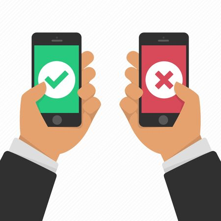 Vector illustration of hands holding smartphones with checkmarks set. Success and failure concept in flat style. White tick and cross check marks on green and red smartphones screens. Stock Illustratie