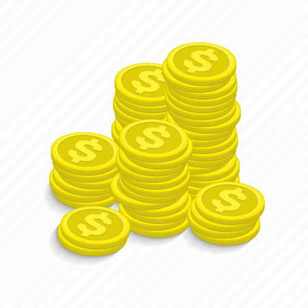 rouleau: Vector illustration gold coins cash money in rouleau. Isolated on white background in modern flat style. Money. Many stacks of gold coins. Coins stack vector illustration, coins icon flat.