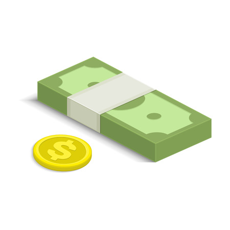 money packet: Vector illustration of pile of money. Single flock of cash and coin flat icon, American dollars pack, packet, parcel, batch, package. Modern design isolated on white background. Modern currency icons.